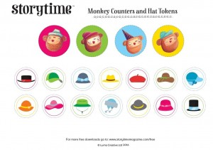 Storytime_kids_magazine_free_download_monkey_counters_and_hat_tokens_www.storytimemagazine.com/free-downloads