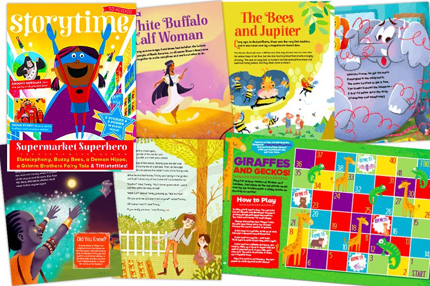 kids magazine subscriptions, magazine subscriptions for kids, storyime magazine, issue 34, supermarket superhero, white buffalo calf woman